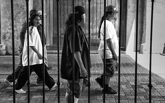 Around San Diego: Through Bars - 51 (rmc sutton) Tags: blackandwhite bw walking nikon bars series walkers balboapark photoseries photographicseries nikond700
