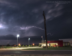 Storm Action (Chains of Pace) Tags: longexposure storm oklahoma sony thunderstorm firestation lightening panhandle guymon