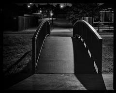 treat me like you did the night before (fallsroad) Tags: longexposure bridge blackandwhite bw night steel jenksoklahoma nikond7000