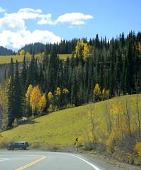 DSC7455 (prietke) Tags: road autumn trees mountains clouds truck landscape highway colorado unitedstates powerlines co skyway milliondollarhighway route550 sanjuanskyway ouraycounty