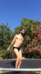 IMG_6998 (danimaniacs) Tags: shirtless man hot sexy guy fun jump trampoline trunks speedo swimsuit stud bulge mansolo