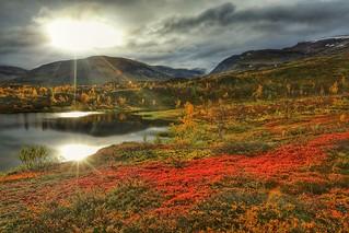 Arctic Sweden sun,  Vassijaure Sweden