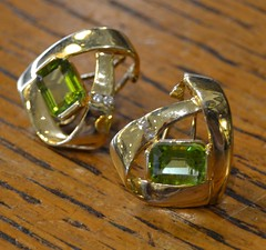 """PAIR 14K GOLD PERIDOT EARRINGS • <a style=""""font-size:0.8em;"""" href=""""http://www.flickr.com/photos/51721355@N02/21845201556/"""" target=""""_blank"""">View on Flickr</a>"""
