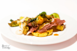 Squash with duck breast, smoked garlic, sage, brussel sprouts | Soif (Gatineau, QC)