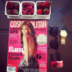 (waluntain) Tags: girls woman girl fruits sunglasses fruit magazine gold cosmopolitan strawberry women watches girly watch strawberries nailpolish girlsstuff