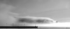 Mist Blanket (Marc-Antoine Labelle) Tags: morning blackandwhite mist landscape fishing nikon quebec saintlaurent d3 perce saintlawrence 2470 rocherperc