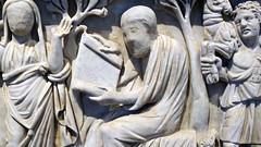 Unfinished male figure in philosopher pose, Santa Maria Antiqua Sarcophgus