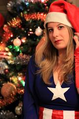 Captain Christmas (Chiara Navarra) Tags: christmas captain america captainamerica shield star hat joly merry comics marvel cosplay femcap femcaptainamerica model tree photography capitano steve rogers steverogers army usa avengers superhero
