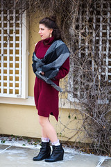 IMG_6151 (simonenicolephotography) Tags: maroon winter january texas colleyville north richland hills roots coffee house mug tea menu lady girl brunette amanda hazel brown eyes canon rebel t3i 50mm simone nicole photography stairs steps wool knit dress boots baby its cold outside outdoors