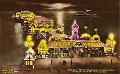 Palace Pier (Leonard Bentley) Tags: brighton sussex england uk palacepier alfredwilliamwardell postcard lights paddlesteamer 1928 1950