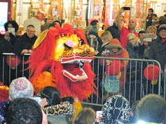 Chinese New Year, Manchester, England, 2017 - Dragon dancers (rossendale2016) Tags: rooster fabric tail furry working wires eyebrows unusual clever icon area railings mobile fast feet public excited clapping applauding children mouth colourful costume inside two athletic difficult actors replica ancient legend regional legendary fashioned old national iconic sheltered undercover fenced artists people shoppers arndale arcade shopping boots 2017 dragon dancing england manchester year new chinese