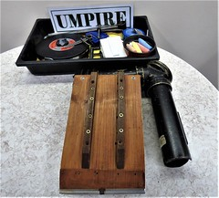 Indoor bowls: Umpire's kit (ronmcbride66) Tags: bowls indoorbowls umpire kit umpireskit bowlsumpireskit inndoorbowlsumpireskit calipers tape chalks cognoscenti accoutrements instruments bowler bowlsparaphernalia bowlsassociation periscope