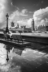 London (Explored) (Ludo_Jacobs) Tags: westminster bigben housesofparliament london uk britain europe monochrome city blackandwhite reflection clouds