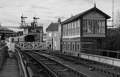 Wansford near Peterborough UK. (Dave Russell (1.5 million views thanks)) Tags: circus filming location chase octopussy bond james 007 movie film nvr nene valley railway track rail crossing signal box station transport passenger outdoor black white bw blackandwhite peterborough cambridgeshire england uk steam monochrome railroad travel