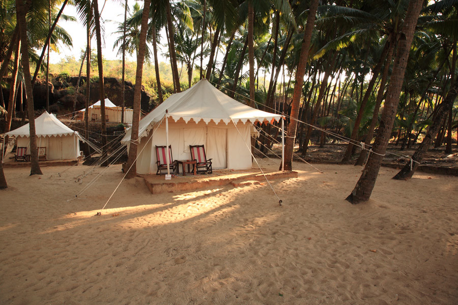 Luxury tents on a beach in India