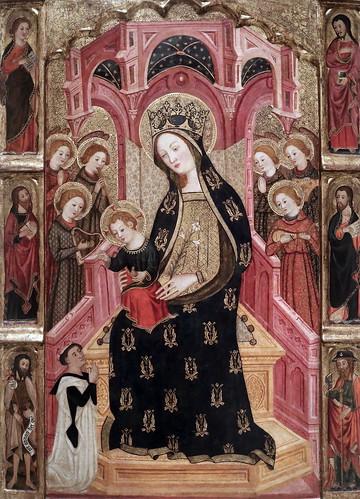 IMG_4517 Enrique de Estencop. Actif à Saragosse entre 1387-1400.  La Mère de Dieu (Vierge à l'Enfant)  et des Anges. The Mother of God (Virgin and Child) and the Angels. vers 1390. Barcelone. MNAC
