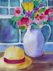 FLOWERS BY THE WINDOW (BonnieBuchananKingry) Tags: flowers floral watercolor paintings bouquet pitcher strawhat