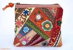Hand embroidered and beaded patchwork wallet/case (zsofianyu) Tags: flowers autumn orange fall shop bag beads colorful bright handmade wallet embroidery unique ooak case storage etsy patchwork beading multicolor