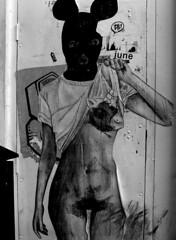 June (Draopsnai) Tags: blackandwhite bw woman streetart monochrome naked graffiti grayscale bricklane bizarre mickymouse towerhamlets