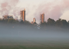 mist on Morley common 01 oct 15 (Shaun the grime lover) Tags: morning autumn mist plant sunrise football warrington industrial cheshire soccer pitch common walton chemical goalpost morley