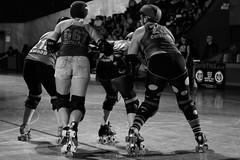 rebels_vs_panic_L1063683 1 (nocklebeast) Tags: ca usa santacruz rollerderby rollergirls zombies vampires skates organicpanic santacruzderbygirls redwoodrebels