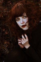 Autumn lady (Nanihta (Sol Vzquez)) Tags: red portrait woman selfportrait cold fall girl beautiful beauty female self rouge mujer rojo hands chica femme autoretrato young autumnleaves redhead autumncolors portraiture redlips freckles autorretrato curlyhair rosso youngwoman freckled selfie blackclothes redheadwoman redheadgirl freckledface nanihta solvzquez solvzquezphotography nanihtafotografa