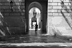 Bellezza in bicicletta (Elios.k) Tags: door camera old city travel light shadow summer vacation people blackandwhite bw italy man building travelling tourism lamp saint bike bicycle silhouette festival horizontal architecture contrast canon outdoors person photography one cycling gate ride august palace hanging opening baroque prefecture palazzo rider convent salento puglia santo patron lecce oronzo apulia 2015 soronzo santoronzo provinciadilecce palazzodeicelestini 5dmkii