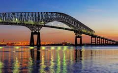 Francis Scott Key Bridge at Dawn - Baltimore, MD (oscarpetefan) Tags: sunrise harbor nikon meetup maryland baltimore dxo 28 nikkor 80200 on1 d600 patapscoriver creativeexposure hawkinspoint top20bridges ononephoto subming piccure oscarpetefan