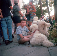 (Josh Sinn) Tags: street boy color 120 6x6 film poodles dogs festival mediumformat md kodak maryland baltimore neighborhood 100 hampden yashicamat124g ektar hampdenfest joshsinn