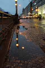 (Giramund) Tags: street light reflection wet puddle sweden gothenburg
