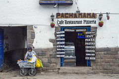 PachaMama Cafe and Inca Walls - Cusco Peru (Don Thoreby) Tags: signs peru inca cuzco menu restaurant cafe cusco foundation storefront vendor walls pizzeria pachamama