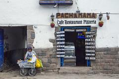 PachaMama Cafe and Inca Walls - Cusco Peru (Don Thoreby) Tags: cusco peru cuzco pachamama cafe restaurant pizzeria inca walls foundation menu storefront vendor signs unescoworldheritagesite unesco worldheritagesite