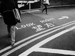 """Look """"Right"""" (yeungyanshek) Tags: bnw photo bw people street city hk streetphotography stripy photography documentray sun sunset light contrast ricoh gr ricohgr downtown streettogs old faded fade walking black white photos urban"""