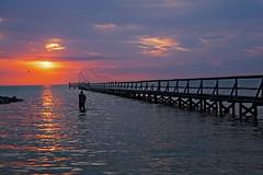 _40A6583 Bait Fishing (ChefeGrande) Tags: texas gulfcoast fishermen baitfishing net casting woodpier fishingpier sunrise coastal seashore seaside clouds landscape water saltlife