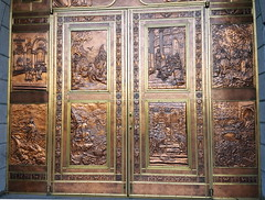 copper doors of Ste-Anne (subarcticmike) Tags: art copper embossed enamelled travel subarcticmike loris quebec bus tour geotagged