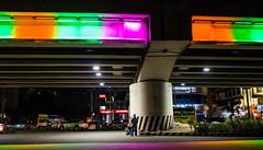 Always Look Up (Blue Nozomi) Tags: look up color colorful orange green bridge magenta manila philippines street night