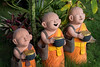 Sculptures of Young Buddhist Monks Holding Alms Bowls (w h i t e w i t h o n e) Tags: thailand th changwatchiangmai chiangmai oldcity wat watchiangman buddhist monks temple garden almsbowl sculptures canoneos6d canonef24105mmf4lisusm