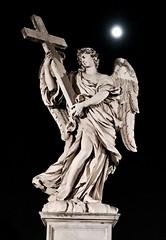 Moonlight Seranade (jkc photos) Tags: woman angel bw art sculpture cross religion statue moon italy rome italian vacation visit travel lifelike largerthanlife immortal