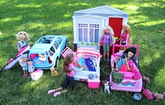 Going Camping (flores272) Tags: asianbarbie leadoll barbie barbierealhouse barbiefashionistas barbieclothing barbiedoll kellydoll tommy tommydoll volvobarbiecar foldupbarbiehouse foldouthouse toydog accessories outdoors toy toys doll dolls camping skipperdoll chelseadoll