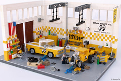 MOONEYES headquarters - Santa Fe Springs CA | interior (Andrea Lattanzio) Tags: garage mooneyes lego legocars california custom kustom fordf100 pickup