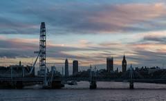 Westminster Skyline at Dusk (James_Beard) Tags: london londonskyline londonlandmarks waterloobridge thames westminster skyline londoneye housesofparliament palaceofwestminster fujixt2 fujixf55200