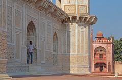 Standing In The Tomb Of I'timād-ud-Daulah (peterkelly) Tags: digital canon 6d india asia tombofitimāduddaulah babytaj mosque archway arch man standing blue sky gadventures essentialindia