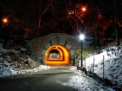 Inscope Arch (Diego3336) Tags: park york city nyc bridge light urban usa snow ny newyork color ice nature colors night stairs america lights stair arch centralpark manhattan tunnel inscope inscopearch
