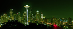 emerald city panorama (wildpianist) Tags: seattle city longexposure sky urban panorama green tower colors skyline night canon eos 50mm washington 14 panoramic 10d pacificnorthwest spaceneedle pugetsound kerrypark viewpoint hdr keyarena seattlecenter downtownseattle christarnawski