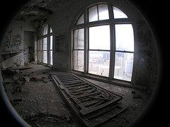 Floor-to-Ceiling Windows (SNWEB.ORG Photography, LLC.) Tags: detroit city urban downtowndetroit downtown mi michigan mich waynecounty architecture building abandoned decay urbandecay urbanblight trespassing trespass abandonedbuilding bldg bld brod broderick eaton tower sky scraper skyscraper paul theodore theodoreeation david davidbroderick brodericktower davidbrodericktower broderickbuilding 1928 column interior inside historic historical office offices officebuiling gone ue urbex explore exploration urbanexploration eatontower eatonbuilding broderickbldg theodoreeatontower higgins mikehiggins michaelhiggins witherell witherellcorp 10witherell witherellcorporation whaletower dark skyline aerial air above view fromabove roof roofview rooftop fish eye fisheye fisheyelens lens wide wideangle angle 180 180degrees fullframe full frame fullframefisheye perspectiv distortion fisheyedistortion fieldofview