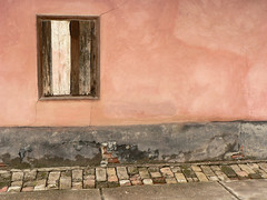 Rural Wallscape (sonofsteppe) Tags: old pink detail brick window wet wall architecture composition facade countryside mural hungary pavement antique pastel country rosa adobe simplicity weathered aged simple thewall minimalist cracked peeled ilmuro timeworn wallscape patinated sonofsteppe haphazartoutofdate