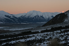 Gorge sunset (shimmo23) Tags: light sunset newzealand snow mountains 20d nature twilight dusk canterbury peaks rakaiagorge rakaiariver shimmo23 canterburynz specland tamron28300mmlens