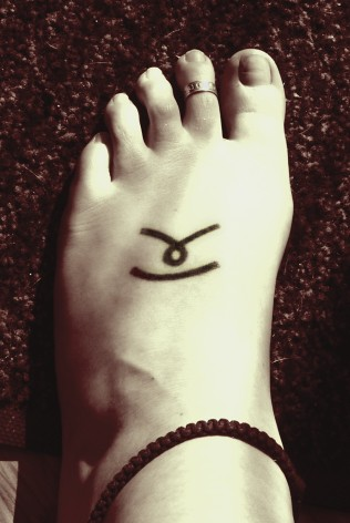 Tattoo on the top of my left foot.My and my best friend got them when we