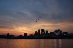 Home run! (Joe Dunckley) Tags: sunset ohio usa skyline clouds cityscape skyscrapers fireworks kentucky cincinnati silhouettes rivers ohioriver ballparks payitforward greatamericanballpark suspensionbridges carewtower roeblingsuspensionbridge nothernkentucky