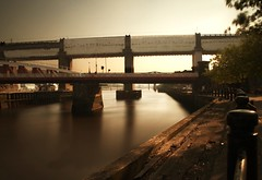 Mid-summer frozen river (Ray Byrne) Tags: longexposure bridge water canon river newcastle 350d evening north bridges tyne northeast tyneside quayside rivertyne highlevelbridge raybyrne byrneout byrneoutcouk webnorthcouk